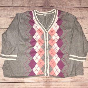 Liz Claiborne 3x argyle button cardigan